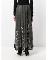 RED Valentino | Black Embroidered Layer Skirt | Lyst