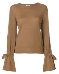 P.A.R.O.S.H. - Brown Knit Tied Sleeve Top - Lyst