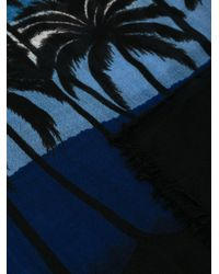 Saint Laurent | Blue Palm Tree Print Scarf | Lyst
