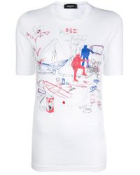 DSquared² - White Patterned T-shirt - Lyst