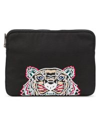 f1033ca386 KENZO Tiger Embroidered Clutch in Black for Men - Lyst