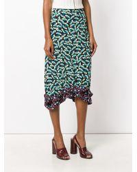 Marni - Black Contrast Printed Skirt With Frill Hem - Lyst