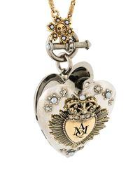 Alexander McQueen - Metallic Heart Pendant Necklace - Lyst