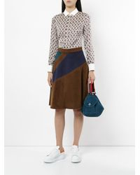 Loveless - Brown A-line Stripe Panel Skirt - Lyst