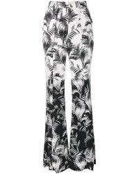 Sonia Rykiel - Black Palm Print Crepe Flared Trousers - Lyst