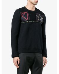 Valentino - Blue Patched Fisherman Knit Sweater for Men - Lyst