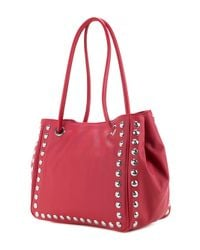 Love Moschino - Red Studded Logo Shoulder Bag - Lyst