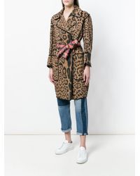 Bazar Deluxe - Brown Leopard Print Double Breasted Coat - Lyst