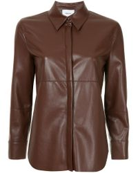 Nanushka - Brown Faux Leather Shirt - Lyst