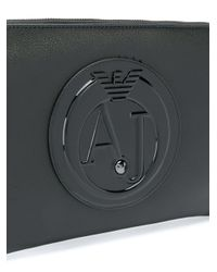Armani Jeans - Black Logo Plaque Zip Clutch - Lyst