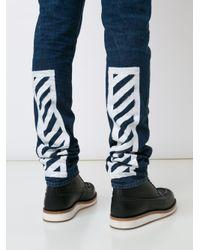 Off-White c/o Virgil Abloh - Blue Striped Leg Jeans for Men - Lyst
