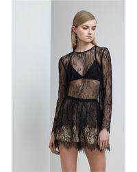 Keepsake | Black Above Water Lace Long Sleeve Top | Lyst