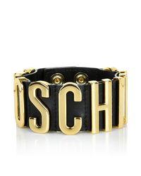 Moschino | Leather Logo Bracelet Black | Lyst