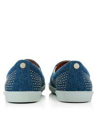 Jimmy Choo - Blue Demi Studded Denim Slip On Sneakers Jeans/silver - Lyst