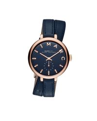 Marc Jacobs | Sally Double Wrap Leather Watch Blue | Lyst