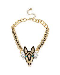 Betsey Johnson - Metallic Goldtone Zebra Frontal Necklace - Lyst