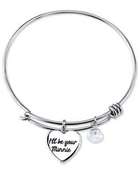 Disney - Metallic Minnie Crystal Charm Bracelet In Stainless Steel - Lyst