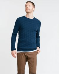 Zara | Blue Braided Cashmere Sweater for Men | Lyst