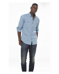 Express | Blue Slub Button-down Collar Shirt for Men | Lyst