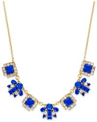 kate spade new york | Blue Gold-tone Stone Frontal Necklace | Lyst