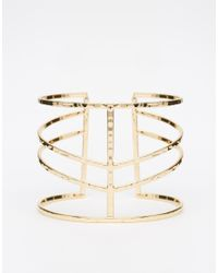 ASOS | Metallic Sleek Caged Open Cuff Bracelet | Lyst