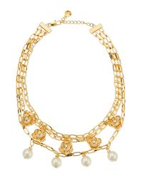 Tory Burch - White Golden Cara Short Flower Necklace - Lyst