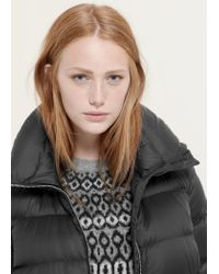 Violeta by Mango - Black Water-repellent Feather Coat - Lyst