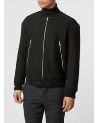 TOPMAN | Black Textured Wool Bomber for Men | Lyst
