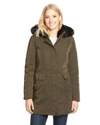 Marc New York - Green 'Delaney' Faux Fur Trim A-Line Parka - Lyst