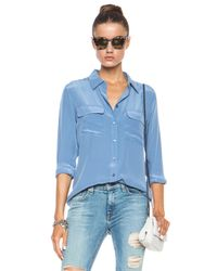 Equipment - Blue Slim Signature Silk Blouse - Lyst