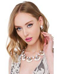 AKIRA - Metallic Fan Girl Cream Gold Necklace & Earring Set - Lyst