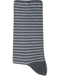 Alto Milano | Gray Stripe Lurex Short Socks | Lyst