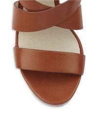 MICHAEL Michael Kors | Brown Elena Stacked Platform Leather Wedges | Lyst