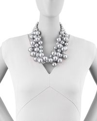 Kenneth Jay Lane | Metallic Simulated Pearl Cluster Necklace | Lyst