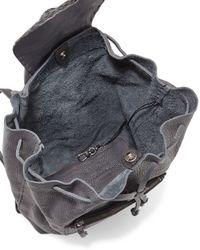Henry Beguelin - Gray Deerskin Croc-stamp Backpack - Lyst