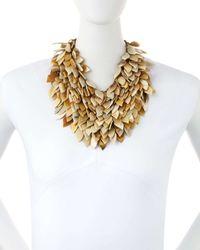 Ashley Pittman - Metallic Tanzu Light Horn Layered Chain Leaf Necklace - Lyst