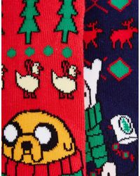 ASOS - Multicolor 2 Pack Socks With Christmas Adventure Time Design for Men - Lyst