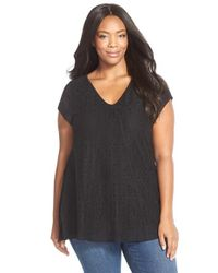 Sejour - Black Lace Front Short Sleeve Tee - Lyst