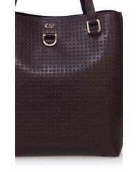 Karen Millen | Red Km Perforated Mini Bucket Bag | Lyst