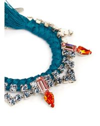 Joomi Lim - Blue Cotton Braid Crystal Bracelet - Lyst