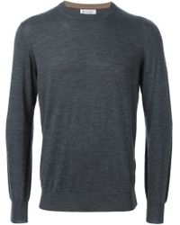 Brunello Cucinelli - Gray Crew Neck Sweater for Men - Lyst