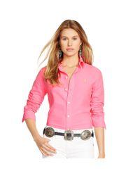 Polo Ralph Lauren | Pink Custom-fit Cotton Oxford Shirt | Lyst