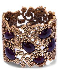Oscar de la Renta | Purple Burgundy Cabochon Stone Filigree Cuff | Lyst