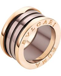 BVLGARI | B.zero1 Roma Four-band 18ct Pink-gold And Bronze Ceramic Ring | Lyst