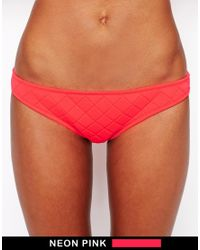 ASOS - Pink Quilted Hipster Bikini Pant - Lyst