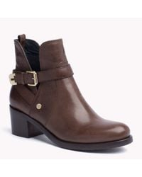 Tommy Hilfiger | Brown Leather Heeled Boot | Lyst