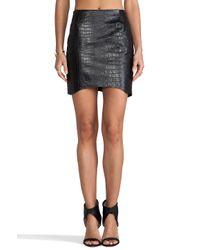 Nicholas - Black Croc Leather Curved Hem Skirt - Lyst
