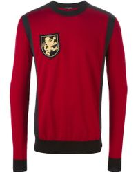 Balmain - Red Insignia Sweater for Men - Lyst