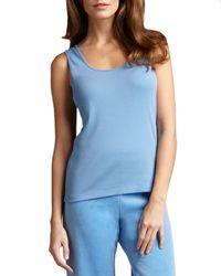 Joan Vass | Blue Basic Ribbed Cotton Tank | Lyst