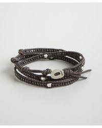 Chan Luu | Gray Grey Leather Silver Nugget Beaded Wrap Bracelet for Men | Lyst